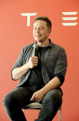 Founder and CEO of Tesla Motors Elon Musk speaks during a media tour of the Tesla Gigafactory, which will produce batteries for the electric carmaker, in Sparks, Nevada, U.S. July 26, 2016.  REUTE ...