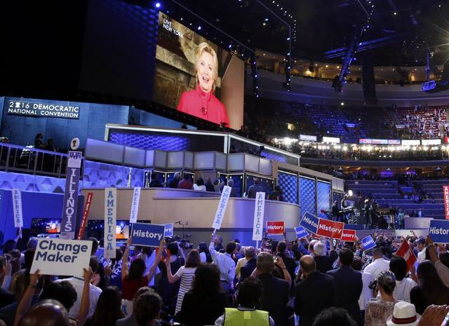 Democratic Presidential nominee Hillary Clinton speaks to the convention via satellite during the Democratic National Convention in Philadelphia, Pennsylvania, U.S. July 26, 2016. REUTERS/Lucy Nic ...