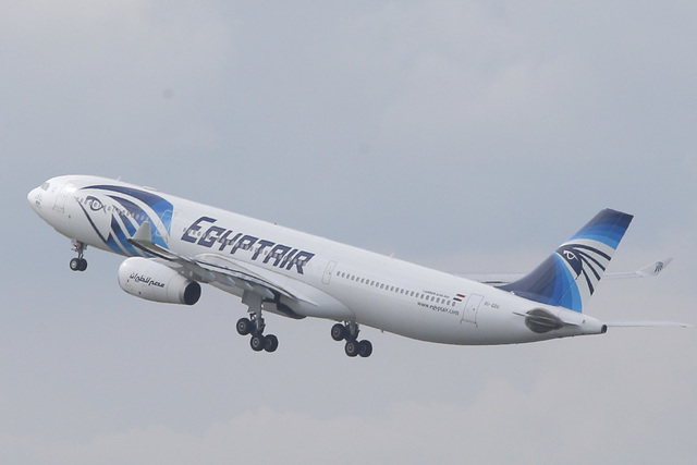 An EgyptAir Airbus A330-300 takes off for Cairo from Charles de Gaulle Airport outside of Paris, May 19, 2016. (Christophe Ena/AP)