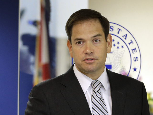 Sen. Marco Rubio, R-Fla. speaks during news conference in Doral, Fla., June 3, 2016. The Republican announced Wednesday, June 22, 2106, that he is running for re-election to his Florida Senate sea ...