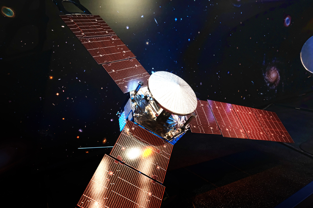 A 1/5 scale model size of NASA's solar-powered Juno spacecraft is displayed at the Jet Propulsion Laboratory in Pasadena, Calif. on Friday, July 1, 2016. The spacecraft is on the final leg of a fi ...