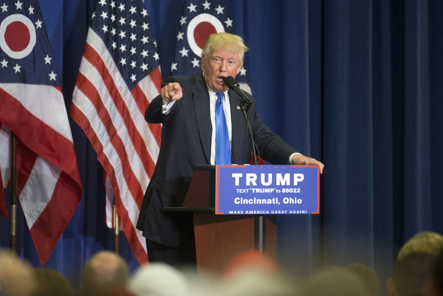 Republican presidential candidate Donald Trump speaks during a campaign rally at the Sharonville Convention Center, Wednesday, July 6, 2016, in Cincinnati. Trump has been criticized for his stand  ...