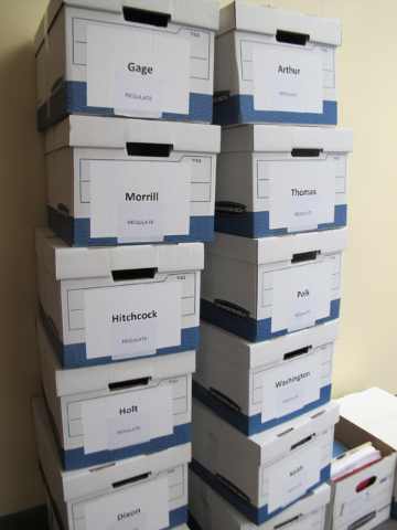 Boxes filled with gambling petition signatures sit in a stack in the Nebraska Capitol on Thursday, July 7, 2016, in Lincoln. (Grant Schulte/A)