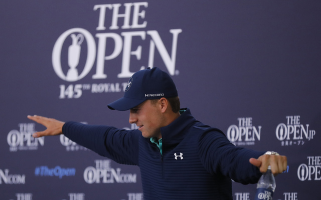 Jordan Spieth of the US gets up after attending a press conference ahead of the British Open Golf Championship at the Royal Troon Golf Club in Troon, Scotland, Tuesday, July 12, 2016. (Ben Curtis/AP)
