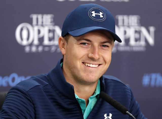 Jordan Spieth of the US speaks during a press conference ahead of the British Open Golf Championship at the Royal Troon Golf Club in Troon, Scotland, Tuesday, July 12, 2016. (Ben Curtis/AP)