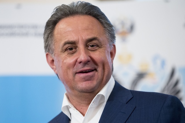 Russian Sports Minister Vitaly Mutko speaks to the media in Moscow, Russia, Sunday, July 24, 2016. Olympic leaders stopped short Sunday of imposing a complete ban on Russia competing in the Rio de ...