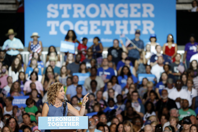 DNC chairwoman, Rep. Debbie Wasserman Schultz speaks during a campaign event for Democratic presidential candidate Hillary Clinton at the Florida State Fairgrounds Entertainment Hall, Friday, July ...