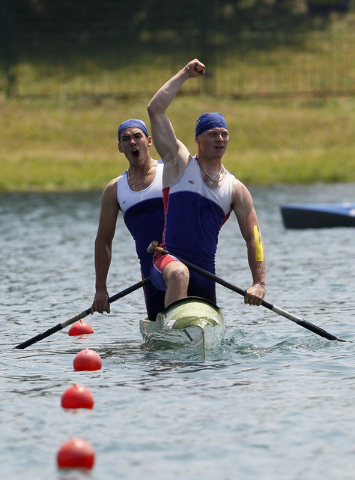 In this Saturday, June 18, 2011 file photo Russia's Alexey Korovashkov, right, and Ilya Pervukhin react after winning the 1000m C2 men's final race, during the European Senior Sprint Canoe Champio ...