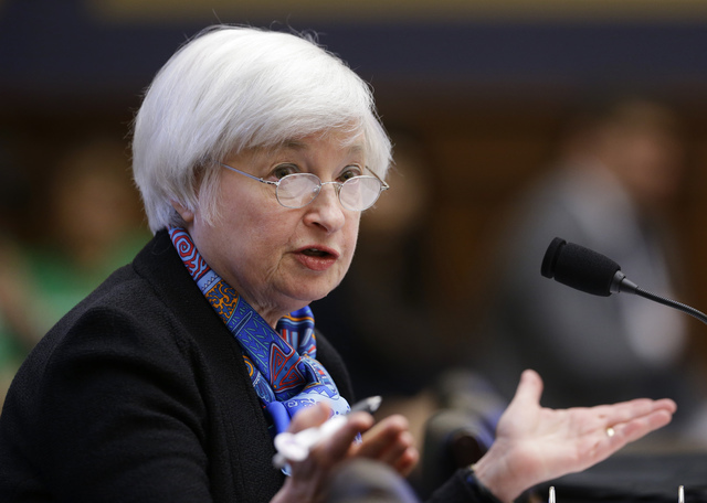 FILE - In this Wednesday, June 22, 2016, file photo, Federal Reserve Chair Janet Yellen testifies on Capitol Hill in Washington, before the House Financial Services Committee hearing on U.S. monet ...