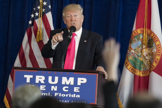 Republican presidential candidate Donald Trump speaks during a news conference at Trump National Doral, Wednesday, July 27, 2016, in Tampa, Fla. (Evan Vucci/AP)