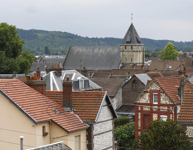 General view of the church where a priest was killed in an attack in Saint Etienne du Rouvray, Normandy, France, Tuesday, July 26, 2016. (Francois Mori/AP)