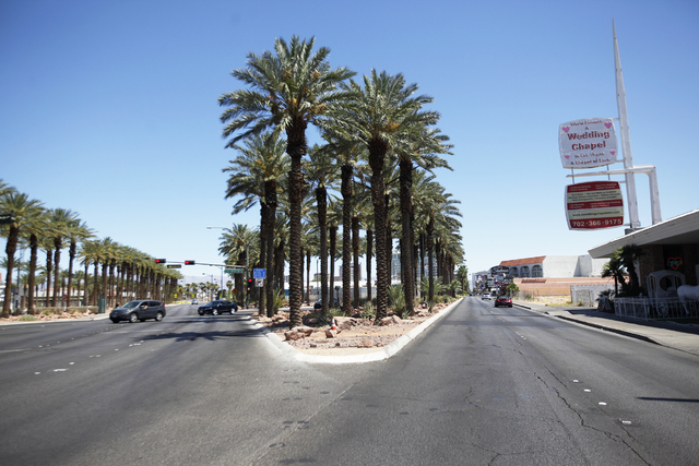 """The site where the """"Welcome to Downtown Las Vegas"""" sign once was is seen Sunday, July 17, 2016, at the cross street of 4th and Las Vegas Boulevard in Las Vegas. (Rachel Aston/Las Vegas Review-Jour ..."""