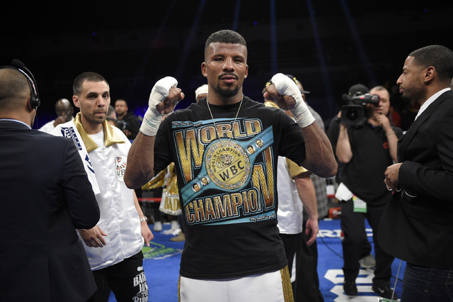 Badou Jack poses for a picture after  a boxing match against Lucian Bute, early Sunday, May 1, 2016, in Washington. The match ended in a draw. (Nick Wass/AP)