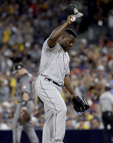 National League's Fernando Rodney, of the Miami Marlins, gestures to the crowd during the MLB baseball All-Star Game, Tuesday, July 12, 2016, in San Diego. The American League won 4-2. (AP Photo/G ...
