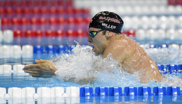 cody miller swims during a mens 100 meter breaststroke semifinal at the us olympic swimming