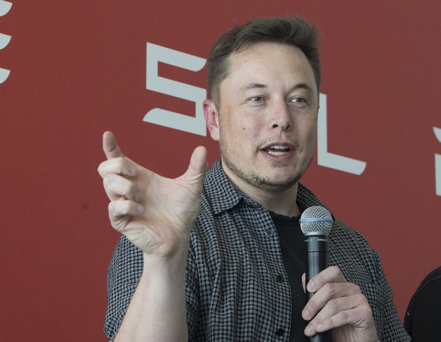 Tesla Motors Inc., CEO Elon Musk discusses the company's new Gigafactory Tuesday, July 26, 2016, in Sparks, Nev. It's Tesla Motors biggest bet yet: a massive, $5 billion factory in the Nevada dese ...
