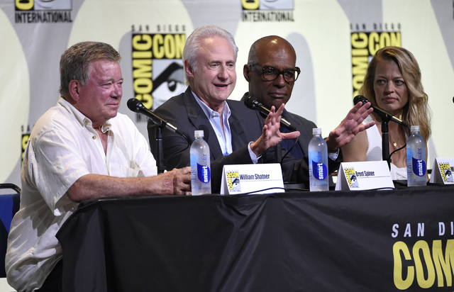 "William Shatner, from left, Brent Spiner, Michael Dorn, and Jeri Ryan attend the ""Star Trek"" panel on day 3 of Comic-Con International on Saturday, July 23, 2016, in San Diego. (Chris Pizzello/Inv ..."