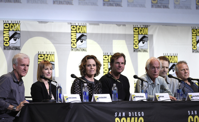 "Writer and director James Cameron, from left, producer Gale Anne Hurd, and actors Sigourney Weaver, Bill Paxton, Lance Henriksen, Michael Biehn, and Paul Reiser attend the ""Aliens: 30th Anniversar ..."