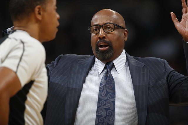 Los Angeles Clippers assistant coach Mike Woodson makes a point while facing the Denver Nuggets in the first half of an NBA basketball game Tuesday, Nov. 24, 2015, in Denver. (David Zalubowski/AP)