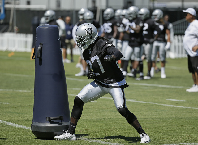 Oakland Raiders safety Reggie Nelson during practice at the NFL football team's training camp Friday, July 29, 2016, in Napa, Calif. (AP Photo/Eric Risberg)