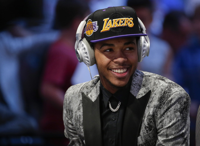 Brandon Ingram answers questions during an interview after being selected second overall by the Los Angeles Lakers during the NBA basketball draft, Thursday, June 23, 2016, in New York. (Frank Fra ...
