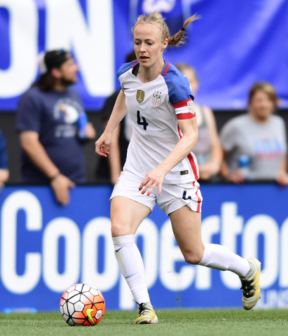 United States defender Becky Sauerbrunn dribbles the ball during the second half of an international friendly soccer match against Japan, Sunday, June 5, 2016, in Cleveland, Ohio. The United State ...