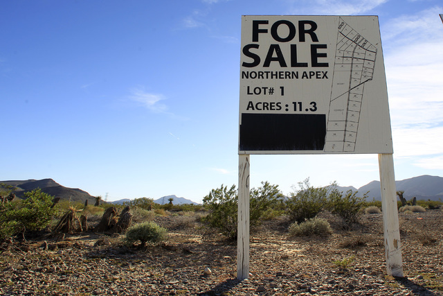 A for sale sign is seen near the Apex Industrial Park Thursday, Oct. 23, 2014. (Sam Morris/Las Vegas Review-Journal)