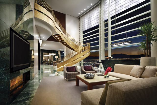 The living area of a Sky Suite at Aria. (Courtesy)
