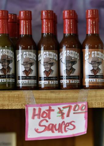 Bottles of Ol' Gringo hot sauces are available for sale at the International Cafe & Bar Wednesday, June 8, 2016, in Austin, Nev. David Becker/Las Vegas Review-Journal Follow @davidjaybecker