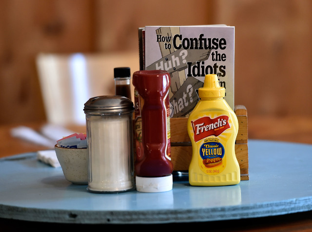 Condiments and reading material are displayed on each table top for customers at the International Cafe & Bar Wednesday, June 8, 2016, in Austin, Nev. David Becker/Las Vegas Review-Journal Fol ...
