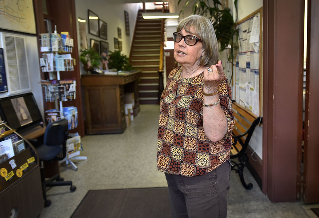 County worker Gail Utter talks about her disagreement with the owners of the International Bar & Cafe, June 8, 2016, in Austin, Nev. Utter chose not to patronize the restaurant, owned by Victo ...