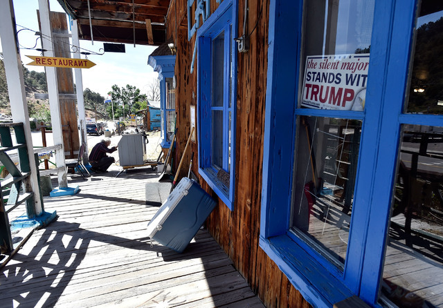 Victor Antic makes repairs to an ice maker on the boardwalk in front of his International Cafe & Bar Wednesday, June 8, 2016, in Austin, Nev. Antic and his partner Gail Morehead are proud supp ...
