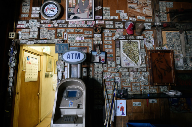 Hundreds of pieces of currency are displayed on the walls at the International Cafe & Bar Wednesday, June 8, 2016, in Austin, Nev. David Becker/Las Vegas Review-Journal Follow @davidjaybecker