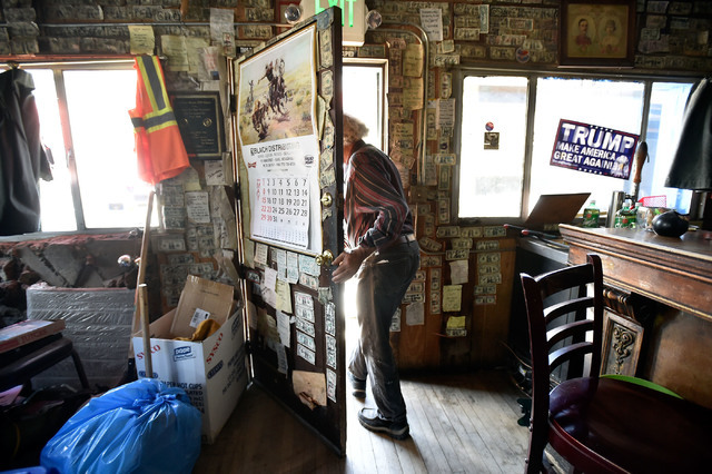 Victor Antic exits his International Cafe & Bar Wednesday, June 8, 2016, in Austin, Nev. Antic and partner Gail Morehead are proud supporters of Republican presidential candidate Donald Trump. ...