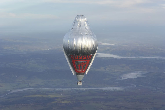 Russian adventurer Fedor Konyukhov floats at more than 20,000 feet above an area close to Northam in Western Australia state in his helium and hot-air balloon. (Oscar Konyukhov/Morton via AP)