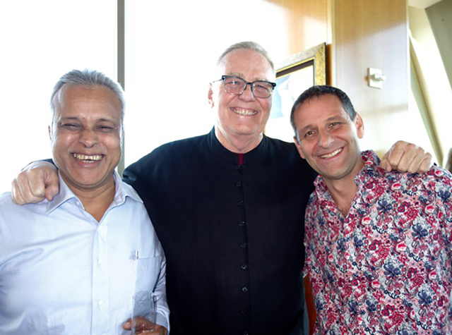 Specialty tea award winners Rajen Baruch, left, and Kevin Gascoyne, right, join host Austin Hodge, center, for the first Tea Pairing in the Sky dinner June 16, 2016, at Alizé at the Palms. Di ...