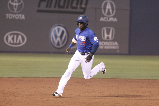 Las Vegas 51s outfielder Roger Bernadina rounds second base during the 51s 16-8 victory over the Sacramento River Cats at Cashman Field in Las Vegas on Saturday, June 25, 2016. (Loren Townsley/Las ...