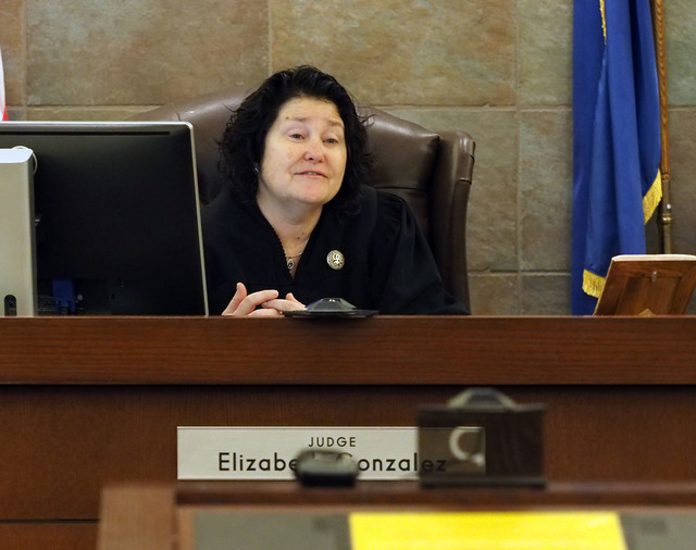 Judge Elizabeth Gonzalez listens to arguments during a hearing in the case involving Ernest Becker IV and his family in Regional Justice Court in Las Vegas, Tuesday, April 5, 2016. Jerry Henkel/La ...