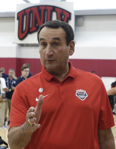 Duke's Mike Krzyzewski arrives at UNLV Mendenhall Center to attend a press conference on Thursday, July 21, 2016. Krzyzewski and UNLV coach Marvin Menzies, not photographed, talked about their 201 ...
