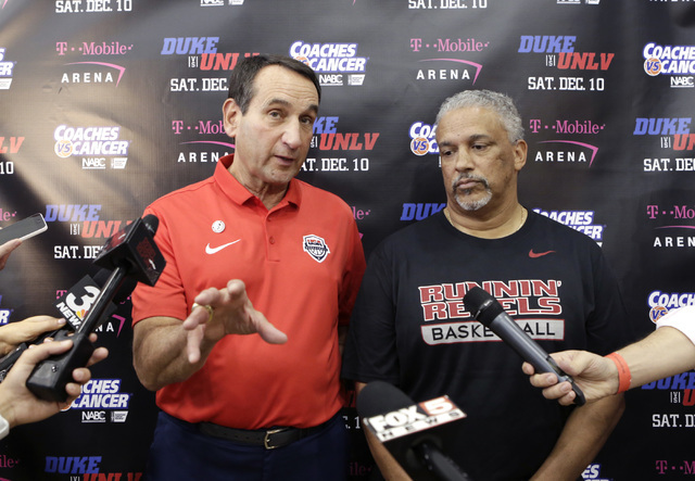 UNLV coach Marvin Menzies, right, listens as Duke's Mike Krzyzewski, speaks during a press conference at UNLV Mendenhall Center on Thursday, July 21, 2016. Krzyzewski and Menzies talked about thei ...