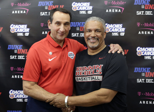Duke's Mike Krzyzewski, left, and UNLV coach Marvin Menzies pose for a photo after a press conference at UNLV Mendenhall Center on Thursday, July 21, 2016. Krzyzewski and Menzies talked about thei ...