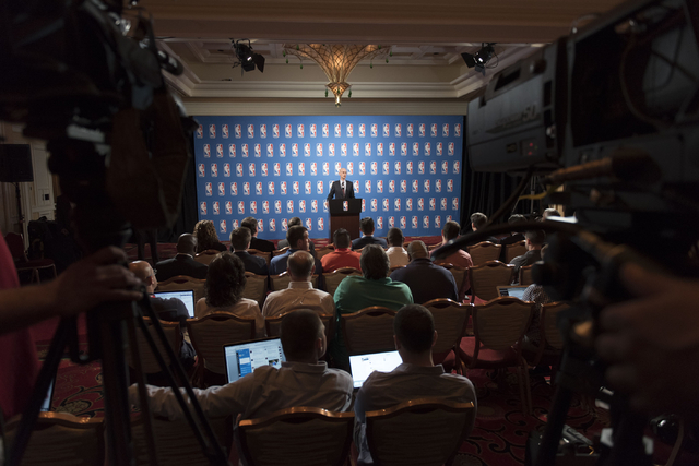 NBA Commissioner Adam Silver speaks to news media at the Encore hotel-casino Las Vegas on Tuesday, July 12, 2016. Jason Ogulnik/Las Vegas Review-Journal