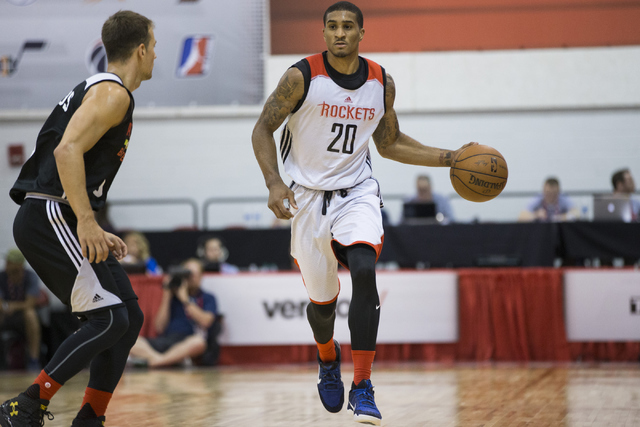 Houston Rockets Gary Payton II (20) plays offense against the Atlanta Hawks in the NBA Summer League tournament at Cox Pavilion at UNLV on Tuesday, July 5, 2016, in Las Vegas. (Erik Verduzco/Las V ...