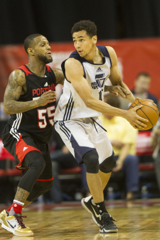 Utah Jazz Marcus Paige (16) looks to make a play against Portland Trail Blazers Pierre Jackson (55) during the NBA Summer League at the Thomas and Mack Center on Tuesday, July 12, 2016, in Las Veg ...