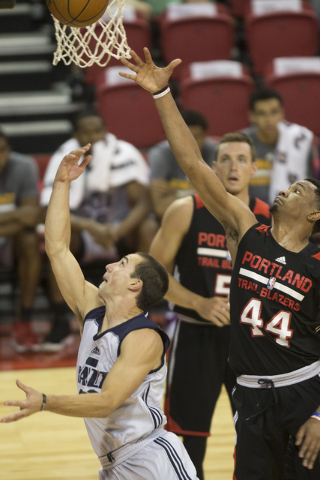 Utah Jazz Aaron Craft (36) takes a shot against the Portland Trail Blazers during the NBA Summer League game at the Thomas and Mack Center on Tuesday, July 12, 2016, in Las Vegas. The Trail Blazer ...