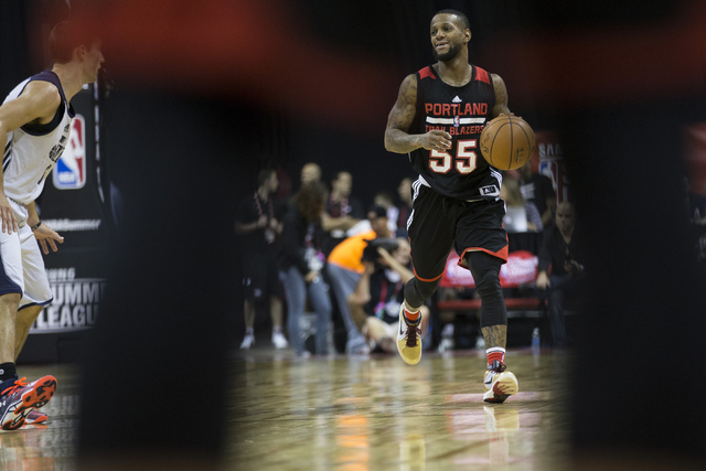 Portland Trail Blazers Pierre Jackson (55) dribbles the ball against the Utah Jazz during a NBA Summer League game at the Thomas and Mack Center on Tuesday, July 12, 2016, in Las Vegas. The Trail  ...