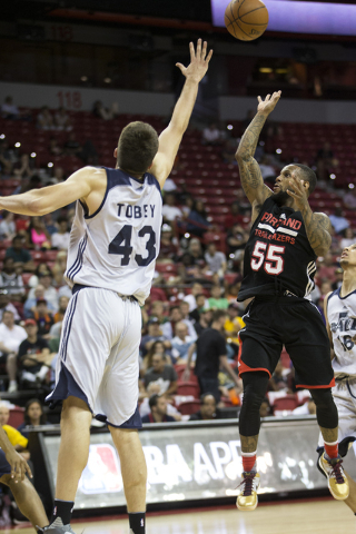 Portland Trail Blazers Pierre Jackson (55) takes a shot against the Utah Jazz during a NBA Summer League game at the Thomas and Mack Center on Tuesday, July 12, 2016, in Las Vegas. The Trail Blaze ...