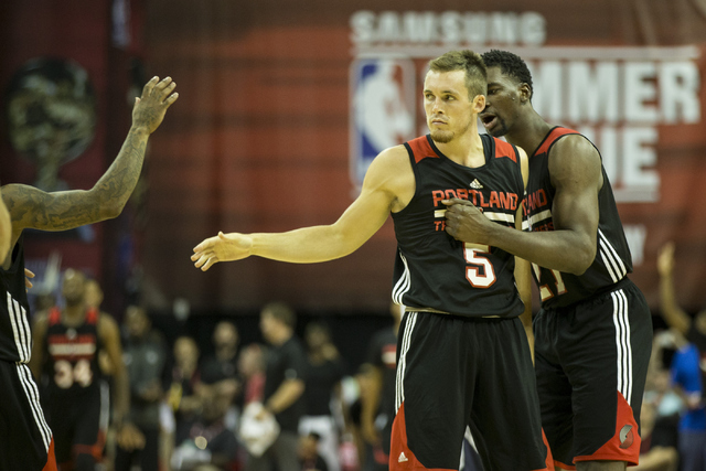 Portland Trail Blazers Pat Connaughton (5) reacts after scoring the winning basket in double overtime against the Utah Jazz during a NBA Summer League game at the Thomas and Mack Center on Tuesday ...