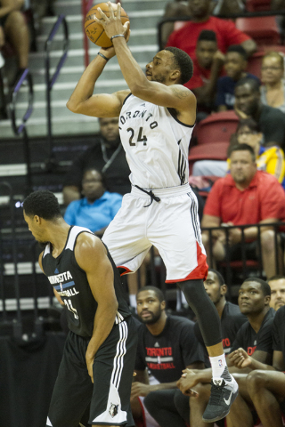 Toronto RaptorsՠNorman Powell (24) goes up for a shot against the Minnesota Timberwolves in the NBA Summer League quarterfinal game at the Thomas & Mack Center on Saturday, July 16, 2016, in  ...