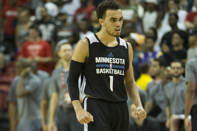 Minnesota TimberwolvesՠTyus Jones (1) reacts after a comeback win against the Toronto Raptors in the NBA Summer League quarterfinal game at the Thomas & Mack Center on Saturday, July 16, 2016 ...
